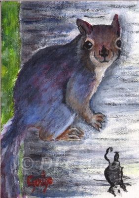 Baby Squirrel Climbing painting by DJ Geribo